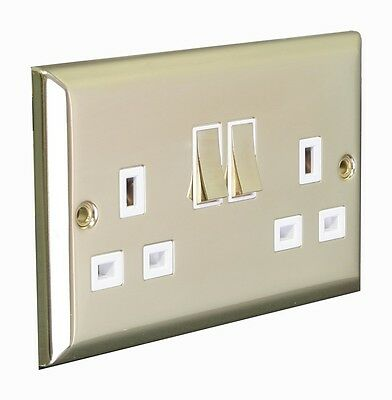 Double/Twin/2 Gang 13A Switched Socket - Sloped Edge/Polished Brass