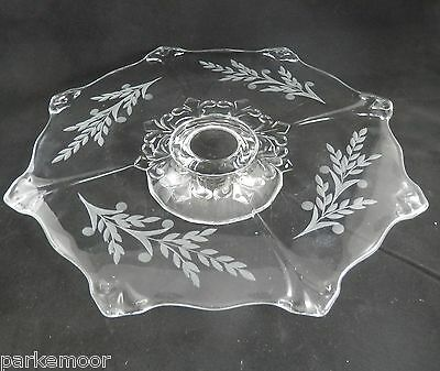 PV01808 Indiana Glass DOUBLE FLEUR #607 Footed Cake Stand with Etch c1931