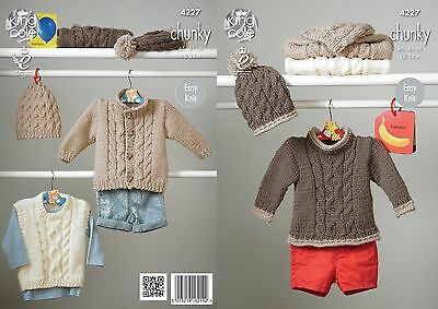"King Cole Chunky Knitting Pattern 4227: Easy Knit Sweaters,Jacket & Hat 18""-24"""