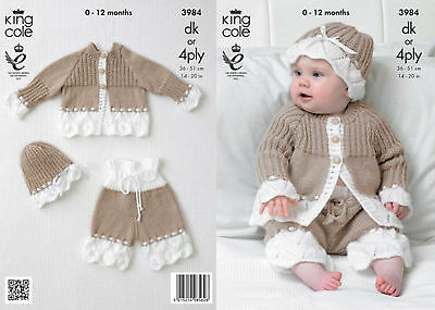 King Cole DK & 4 Ply  Knitting Pattern 3984:Jacket,Pants & Hat