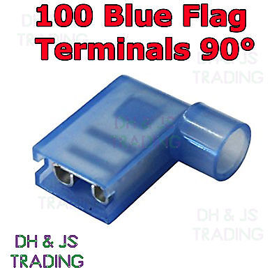 100 Blue Flag Terminal Connectors Crimp On Right Angle Terminals Connector 90°