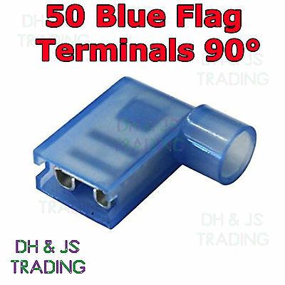 50 Blue Flag Terminal Connectors Crimp On Right Angle Terminals Connector 90°