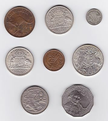 8 Coins, Australia, Silver incl 1946 & 1960 Florin, 1948 3-Pence, 1966 50-Cents