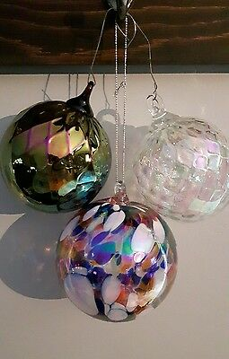 lot of 3 Glass eye hand blown glass ball suncatcher ornament N/R
