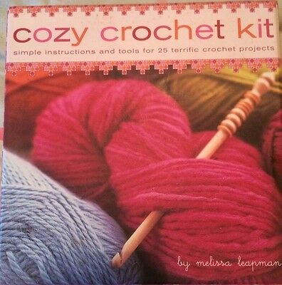 Cozy Crochet Kit.  Simple instructions & tools to make 25 crochet projects