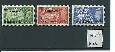 wbc. - GB Overprints - A26- BA ERITREA - GEORGE V1 - 3 high values- MOUNTED MINT