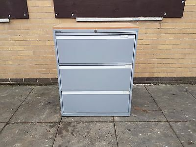 Bisley Lateral File Filing Triple 3 Draw / Cabinet / Storage - Grey . Wooden Top