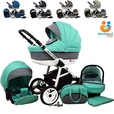 Baby Pram Newborn 3in1 Travel System Carrycot Car Seat Buggy Stroller Pushchair