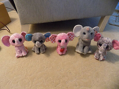 "Lot 5 TY Plush 7"" AFRICA Elephant Beanie Boos Peanut Ellie Specks Tender Tags 52"