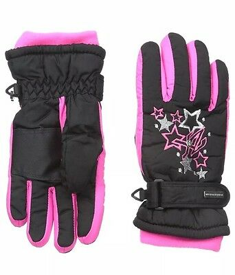 *NEW ZeroXposur Girls Thinsulate Waterproof Ski Gloves Black/Pink Youth Size M/L