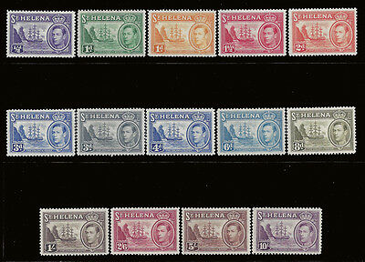 St Helena Stamps 1938 1/2d-10sh Badge Ship (SG131-140) MLH £140 / $175