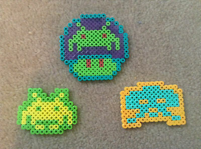 Space Invaders Perler Bead Kawaii Rave 8-bit Necklace Charms
