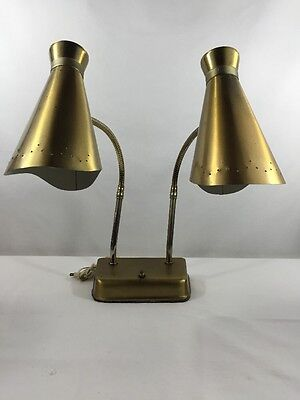 VTG Desk Lamp Mid Century Modern Dual Perforated Metal Shade Brass Atomic Retro