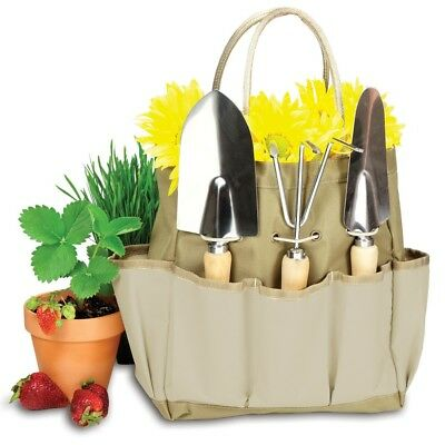 Picnic Time Large Garden Tote, Khaki with Beige - 543-93-190