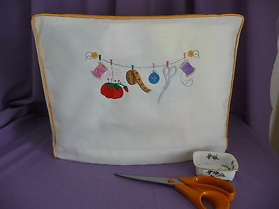 HANDMADE SEWING MACHINE DUSTCOVER 'SEWING NOTIONS' 17.5in x 12.5in x 8.5in
