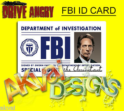 """Drive Angry """"The Accountant"""" Replica FBI PVC ID Card COSPLAY or Customise"""