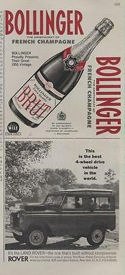 1962 Land Rover Built without Compromise Bollinger Champagne BRUT 1955 PRINT AD