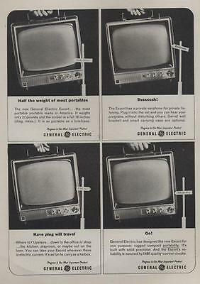 1962 G.E. General Electric Portable Television TV PRINT AD