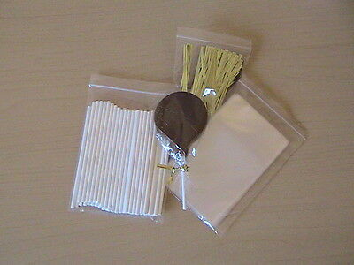 "50 x 4.5/"" PAPER LOLLIPOP STICK KIT CAKE POP 3/"" X 5/"" CELLO BAG METALLIC TWIST TIE"