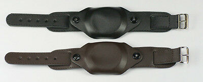 MILITARY QUALITY GENUINE LEATHER CAP COVERED WATCH STRAP Black or Brown 18/20mm.