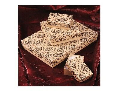 LOT of 20~50~100~500 Pc KRAFT DAMASK GIFT BOXES DAMASK COTTON FILLED BOX JEWELRY