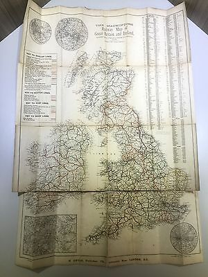 Rare Railway Map Of Britain And Ireland, Company's Line And Town Population
