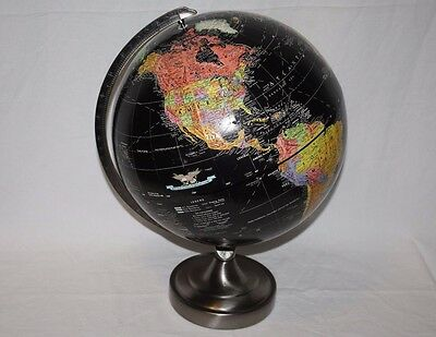"Replogle Starlight Series 12"" Black Ocean Globe, Pewter Metal Base, Stand, Nice"
