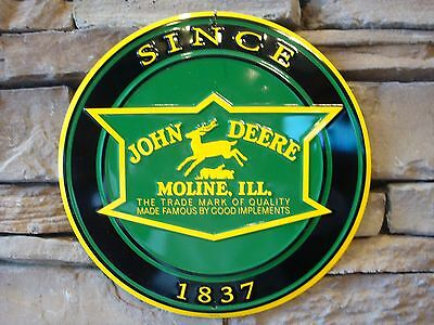 "JOHN DEERE Tractor Farm Equipment Vintage Style 12"" Signs 1837 Moline, Ill."