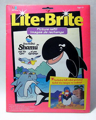 Lite-Brite SHAMU SEA WORLD 12 Color Pages New & Used PLUS 30 Blank Black Sheets