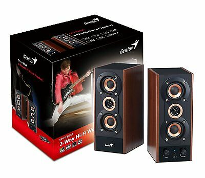 Genius Sp-Hf800A 2.0 3 Way Powered 20W Rms Wired Hifi Wooden Stereo Speakers