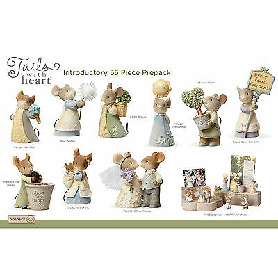 MICE TAILS with HEART of CHRISTMAS FIGURINE SET & DISPLAYER*New 2017*Karen Hahn*