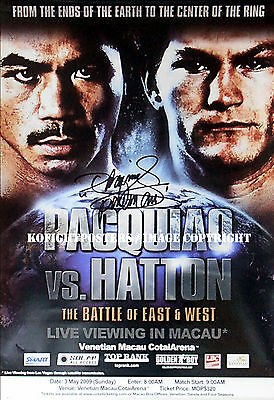 MANNY PACQUIAO vs. RICKY HATTON / Authentic PACMAN Signed C.C. Boxing Poster