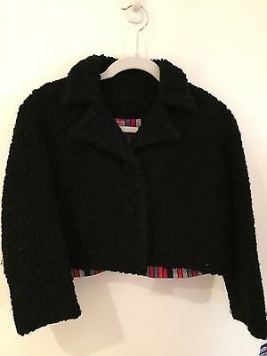 Vtg Womens BLACK Curly Lamb Wool Cropped Jacket size SMALL