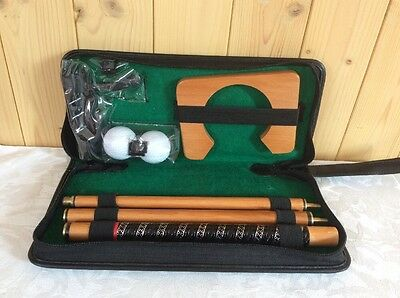 Portable Indoor Golf Putting Set In Synthetic Leather Case