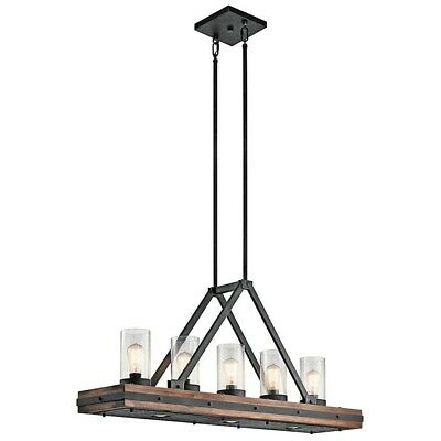 Kichler Colerne Linear Chandelier 5Lt, Auburn Stained, Clear Seeded - 43491AUB