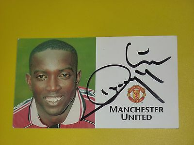 Manchester United Signed DWIGHT YORKE TREBLE SEASON Official Club Card Autocard