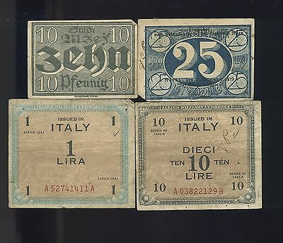 4pcs Military Payment Certificate MPC Two Italy and Two Germany  Q152