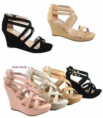 Women's Strappy Ankly Strap Triple Buckles  Wedge Sandal Shoes Size 5 - 10 NEW
