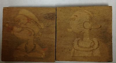 Popeye And Olive Oyl Wood Squares 1 3/4""