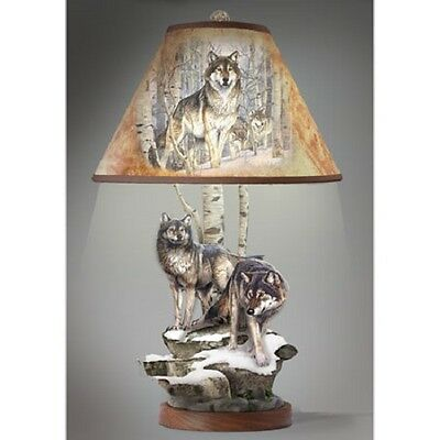 Wolf Table Lamp  -  Al Agnew Nature Bradford Exchange