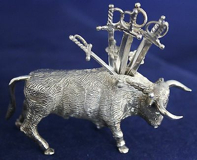 Sterling 925 Charro Bull Toothpick/Hors D'oeuvres Hldr & 6Tooth/Cocktail Swords