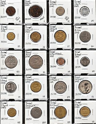 """""""page"""" Of Twenty 20 Different Israel Coins!"""