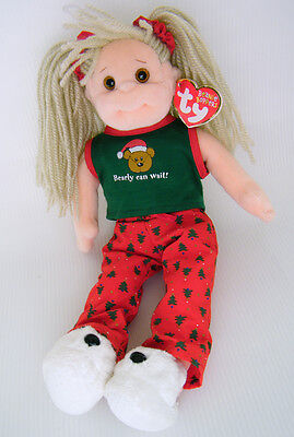 "Ty Beanie Boppers 13"" JOLLY JANIE Cloth Doll ""Bearly Can Wait!"""