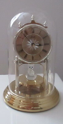 Hermle 9-inch Anniversary Clock with Rotating Crystal Bear, Glass Dome - NEW!!