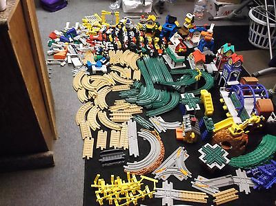 Fisher Price Massive Mixed Train Track, Cars, Buildings, Other Lot
