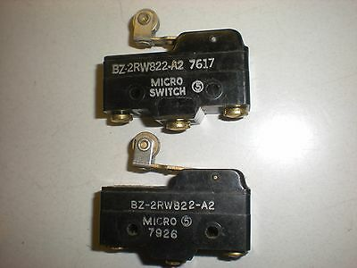 Lot of (2) Honeywell MicroSwitch BZ-2RW822-A2 Roller Lever Snap Switches - 15A
