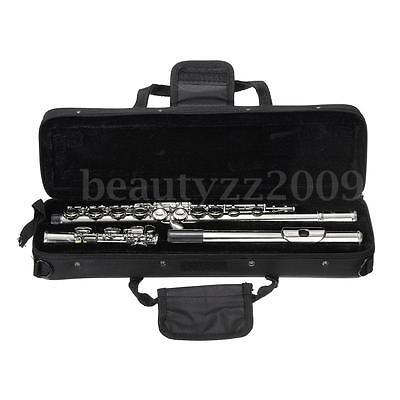 16 Hole C Key Nickel Plated Concert Flute Cupronickel Musical Instrument w/Case