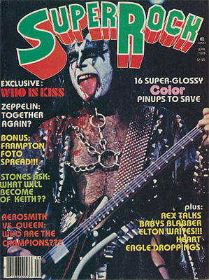 Super Rock RARE April 1978 vtg Poster Magazine KISS Led Zeppelin Queen Aerosmith