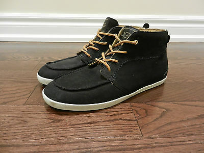 Ugg Austrailia Man-Hattan Casual Mid Top Leather Shoes Sheepskin Lining, Size 10