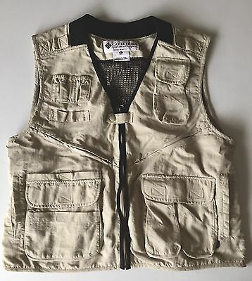 Columbia Nylon Vented Vest Sporting Hunting Fishing Outdoors Khaki Size Large